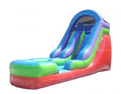 15' Retro Rainbow Inflatable Water Slide with Blower