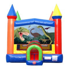Rainbow Modular Bounce House with Blower and Dinosaur Art Panel