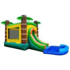 Crossover Tropical Bounce House Slide Combo with Wet Pool Attachment