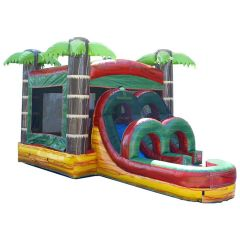 Kids Tropical Fire Marble Water Slide Bounce House Combo with Blower
