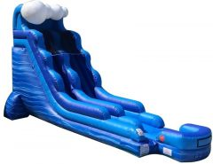18' Blue Marble Wave Inflatable Water Slide with Blower