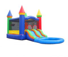 Crossover Dual Lane Bounce House Slide Combo with Pool Attachment, Rainbow