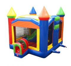 Rainbow Inflatable Bounce House with Slide Combo and Blower