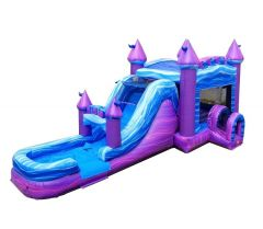 Mega Purple Marble Water Slide Bounce House Combo with Blower