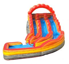 OPEN BOX 19' Fire Marble Double Lane Curved Inflatable Water Slide with Blower