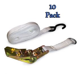 "1.5"" x 13' S-Hook Ratchet Strap White Tent Tie Down  - 10 Pack"
