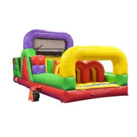 30' Classic Rainbow Inflatable Obstacle Course with Blower