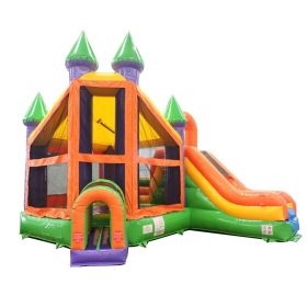 Rainbow Deluxe Castle Bounce House Slide Combo w/ Blower