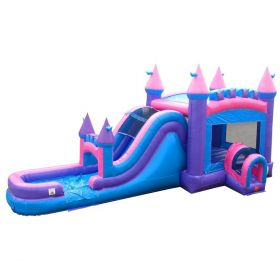Mega Pink Inflatable Water Slide Bounce House Combo with Blower