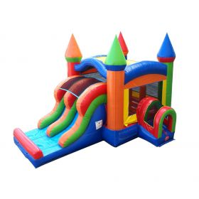 Kids Modern Rainbow Bounce House and Double Lane Slide Combo with Blower