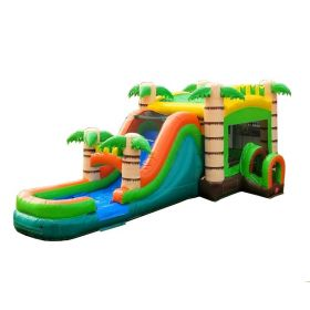 Mega Tropical Wet / Dry Bounce House Combo with Blower