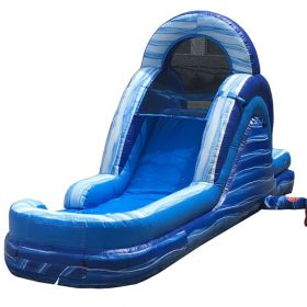 12' Blue Marble Inflatable Water Slide with Blower - Rear Entry