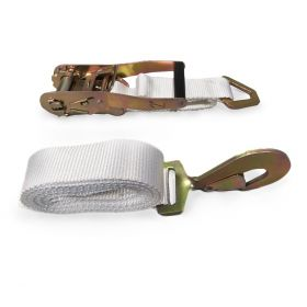 "2"" x 13' Ratchet Strap - White Tent Tie Down with S-Hook"