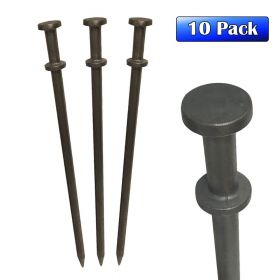 "1 1/8"" x 40"" Double Head Steel Tent Stakes - 10 Pack"
