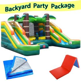 Crossover Tropical Double Slide Bounce House Wet/Dry Combo, Backyard Party Package