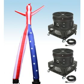 18' Fly Guy Inflatable Tube Man with Blower - US Flag 2 Leg