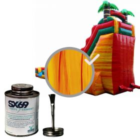 Moose Supply Inflatable Bounce House Vinyl Repair Kit, Orange Marble with 4 oz. SX69 Glue