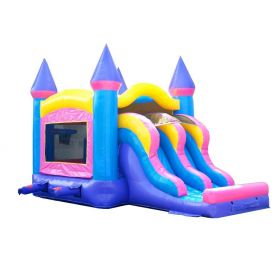Kids Pink Inflatable Bounce House and Double Lane Slide Combo with Blower