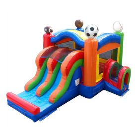 Kids Sports Bounce House and Double Lane Slide Combo with Blower
