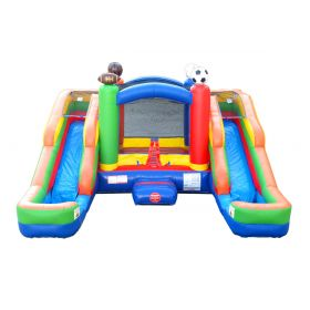 Crossover Sports Double Slide Bounce House Wet/Dry Combo