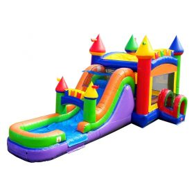 Mega Modern Rainbow Water Slide Bounce House Combo with Blower