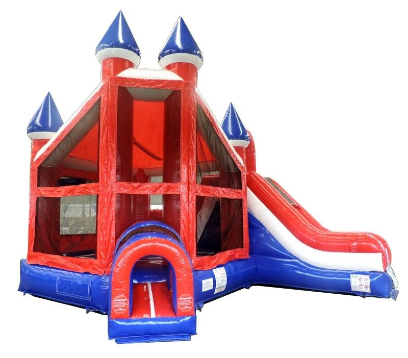 Incredible Patriotic Deluxe Castle Bounce House And Slide Combo With Blower Interior Design Ideas Lukepblogthenellocom