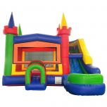 Modular Modern Rainbow Inflatable Water Slide Bounce House Combo with Blower