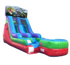 15' Modular Retro Rainbow Inflatable Water Slide with Blower and Dinosaur Art Panel