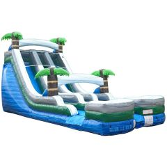 18' Tropical Marble Double Bay Inflatable Water Slide with Blower