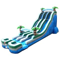 24' Tropical Marble Double Bay Inflatable Water Slide with Blower