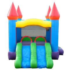 Crossover Blue Rainbow Dual Lane Bounce House Slide Combo