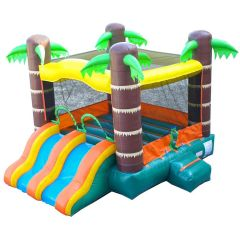 Crossover Tropical Dual Lane Bounce House Slide Combo