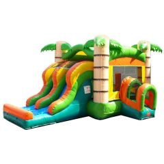 Kids Tropical Bounce House and Double Lane Slide Combo with Blower