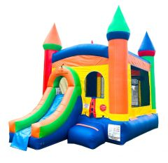 USED Crossover Rainbow Bounce House Slide Combo with Blower