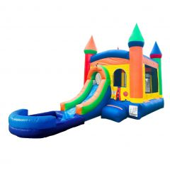 Buy Rainbow Inflatable Bounce House with Slide Combo and Wet Pool Attachment for Sale