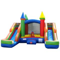 USED Crossover Rainbow Double Slide Bounce House Wet/Dry Combo with Blower