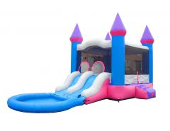 Crossover Dual Lane Bounce House Slide Combo with Pool Attachment, Pink