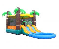Crossover Dual Lane Bounce House Slide Combo with Pool Attachment, Tropical