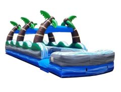 35' Tropical Marble Dual Lane Inflatable Slip n Slide with Blower - Velcro