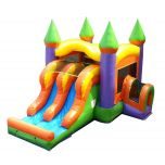 Kids Orange Bounce House and Double Lane Slide Combo with Blower