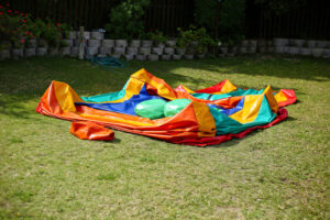 A deflated bounce house